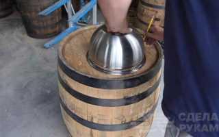 Тумба под раковину из деревянной бочки