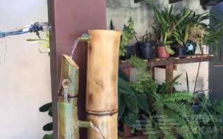 Декоративный каскадный фонтан из бамбука