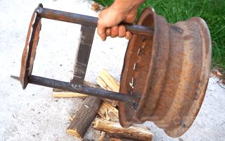Самодельный дровокол из старого обода от колеса автомобиля