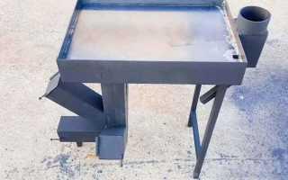 Ракетная печь с тремя топливными камерами и жарочной плитой