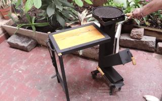 Самодельная ракетная печь с раскладным столиком