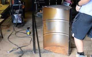 Костровая чаша на дачу из металлической бочки и уголка