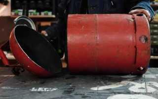 Мусорное ведро с откидной крышкой из старого газового баллона