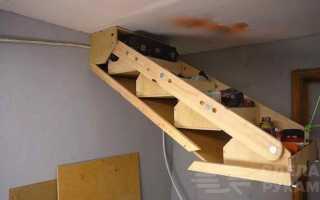 Подвесная полка из фанеры, которая убирается под потолок