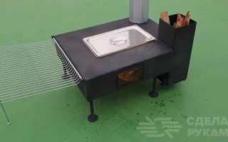 Компактная дровяная печка с духовкой для кемпинга